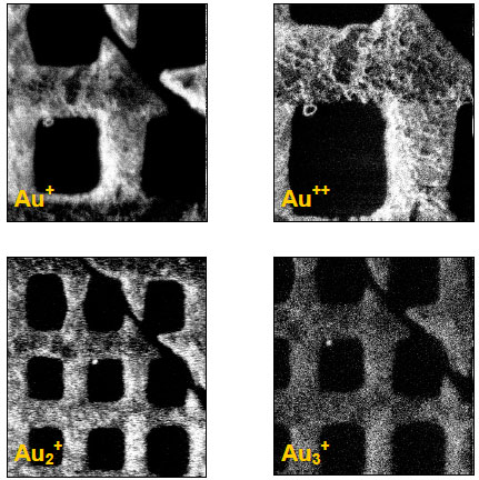 Secondary electron images of a 12.5 micron repeat copper grid.